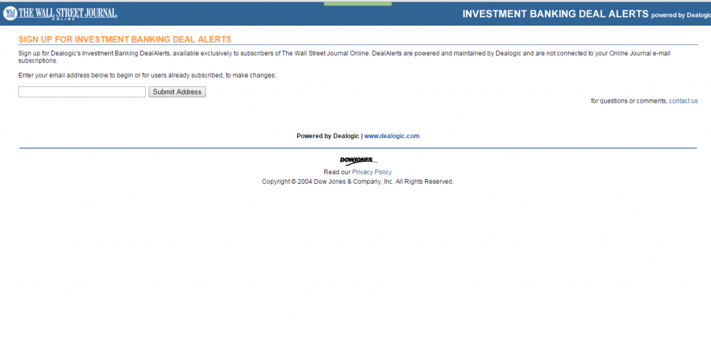 Investment Banking Deal Alerts