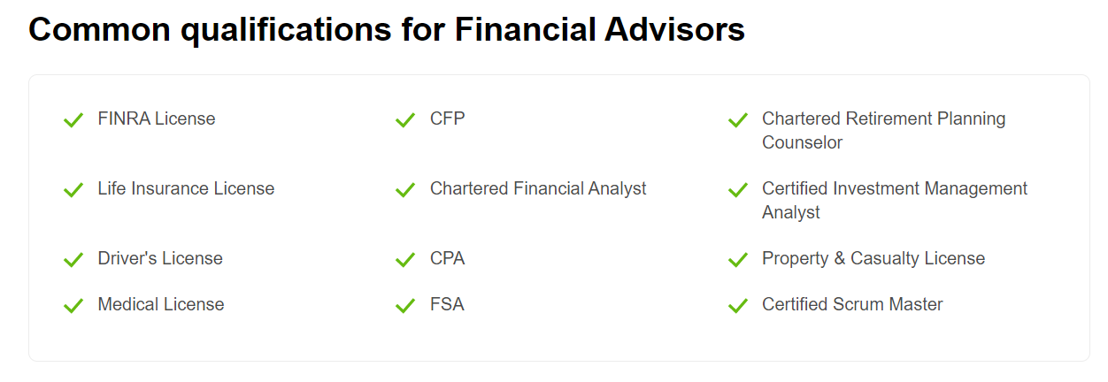 Financial Advisors Qualification