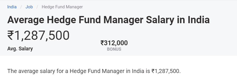 Hedge Fund Manager Salary India